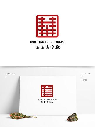 簡約中國元素商業論壇文化logo矢量