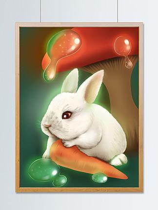 趋势梦觉原画梦幻蘑菇林里的小兔子