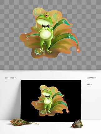 可商用高清手绘梦觉青蛙