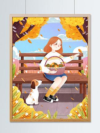 二十四節氣立秋樹下女孩插畫