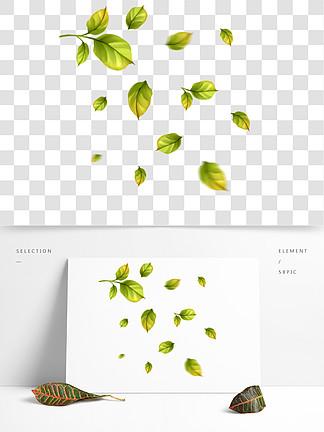 小清新漂浮树叶绿色简约图案gif动态元素