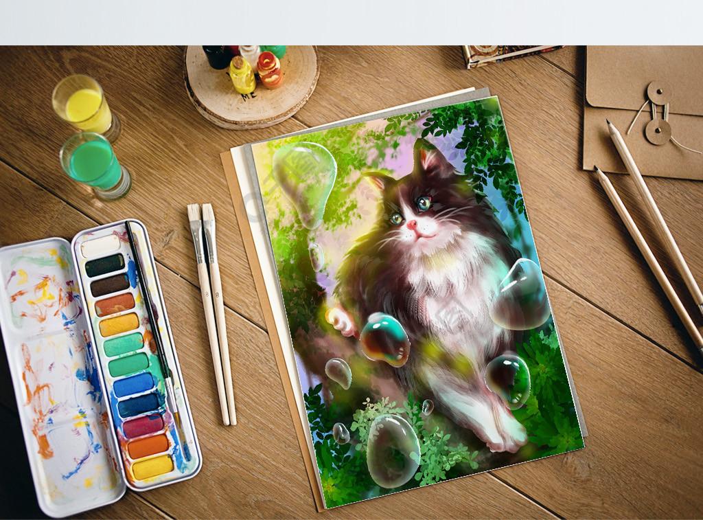 梦觉原画猫咪可爱树林气泡水珠清新唯美梦幻