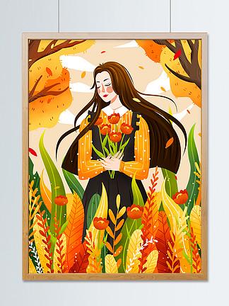 唯美立秋植物叢中女孩二十四節氣插畫