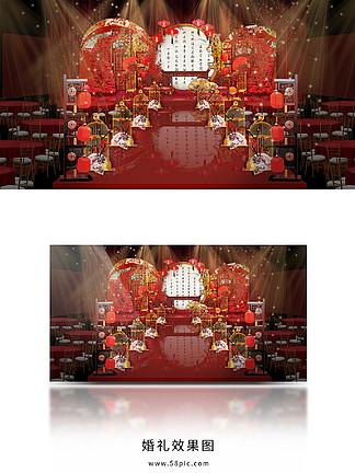 紅色中式婚禮舞臺效果圖