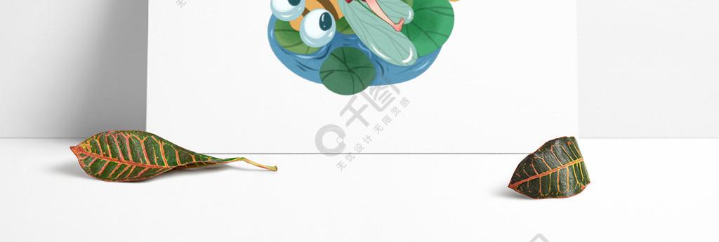 處暑節氣荷塘上的蜻蜓與女孩卡通小清新元素