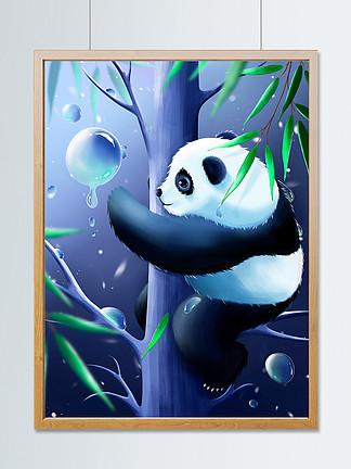 原创手绘趋势梦觉原画大熊猫爬树插画