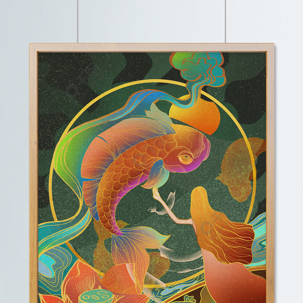 好運錦鯉流光溢彩中國復古風插畫