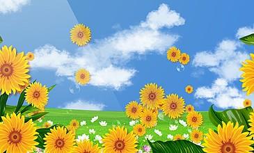 卡通向日葵動畫場景視頻素材