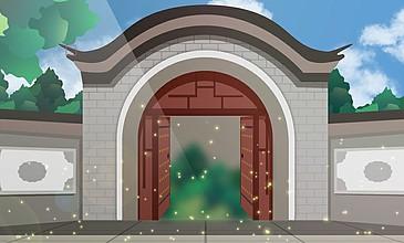 卡通動畫大門打開動畫特效視頻素材