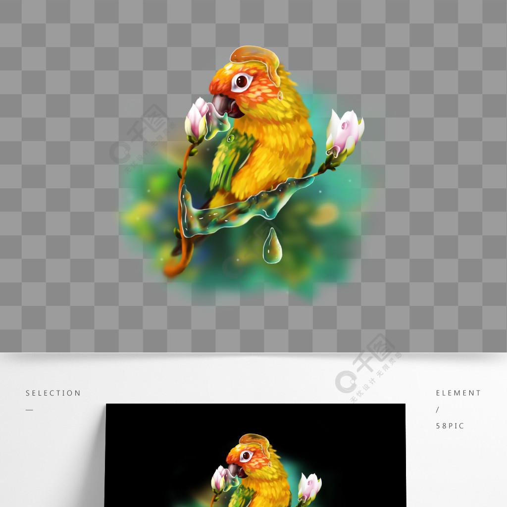 可商用手绘梦觉花鸟鹦鹉