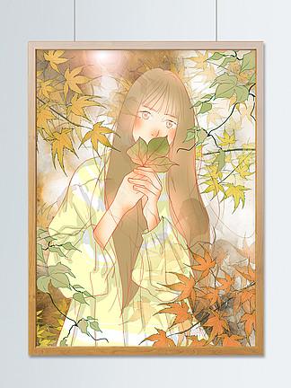 二十四節氣立秋楓樹下的少女小清新插畫