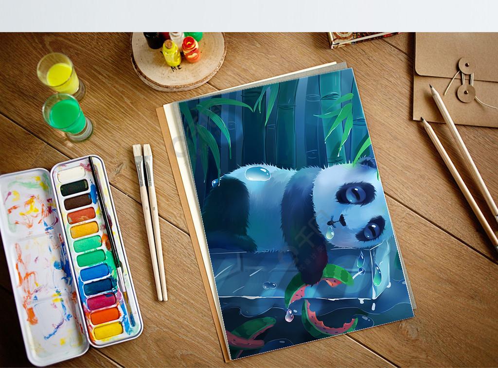 趋势梦觉原画夏天竹林小熊猫的幸福生活