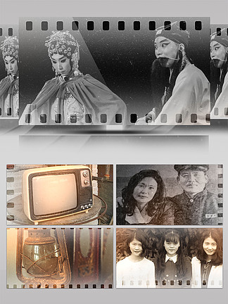 復古老電視電影膠卷回憶記錄視頻模板