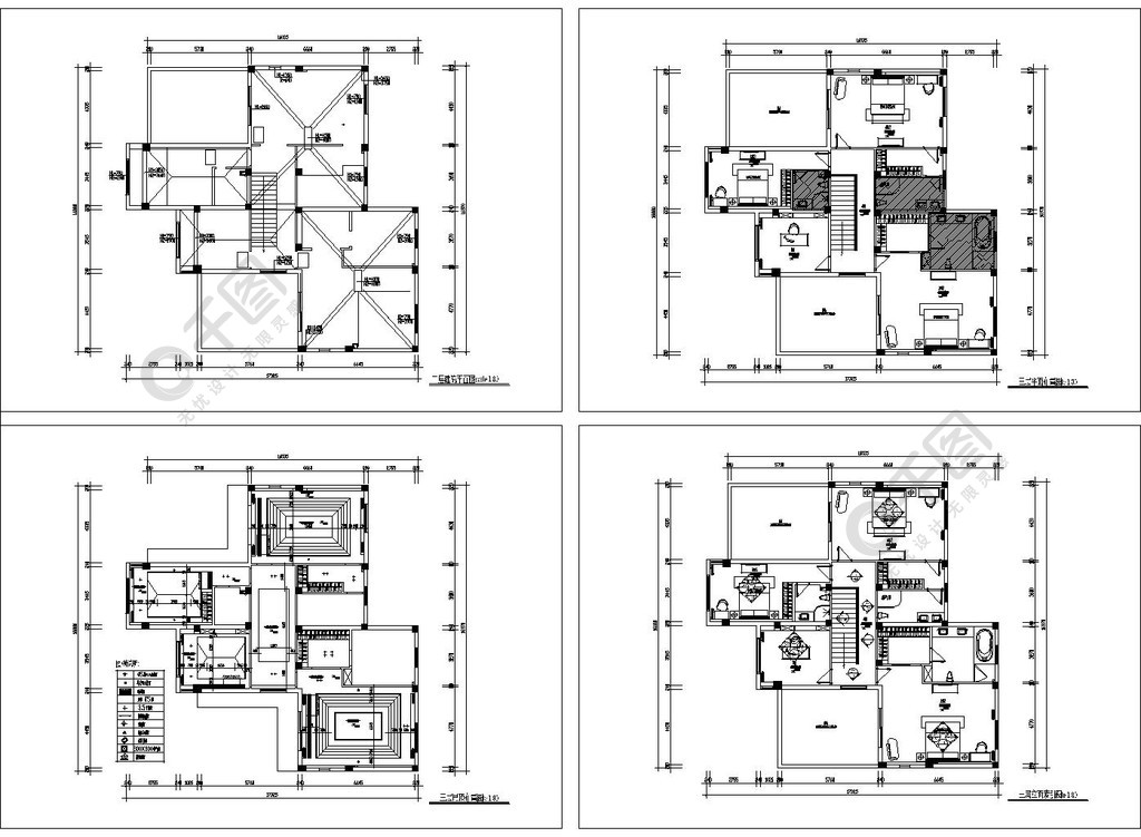 高檔現代別墅裝修CAD平面方案圖