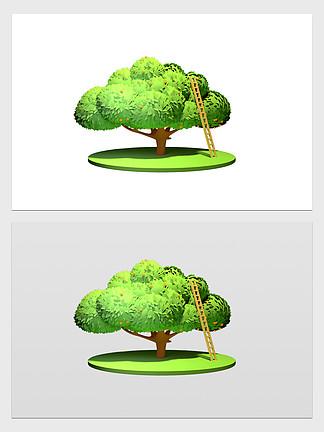 三维树木梯子绿色卡通儿童植物橘子叶子