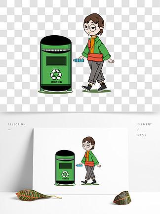 卡通小女孩垃圾分类绿色可回收垃圾