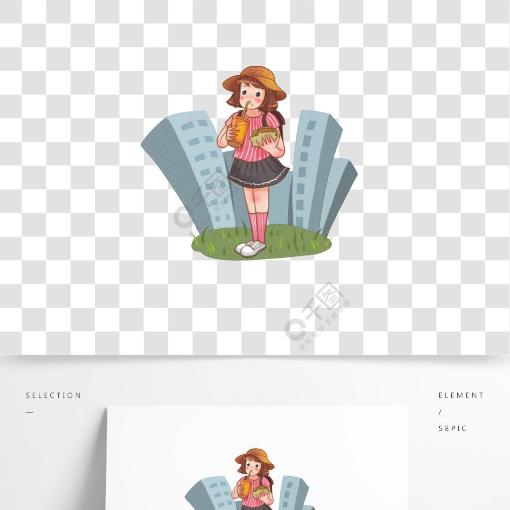 夏天户外游玩带着遮阳帽的女孩卡通元素