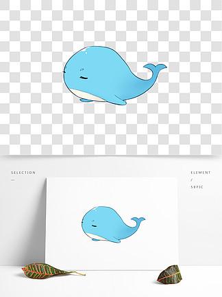 手绘卡通小清新可爱鲸鱼七月通用素材免扣