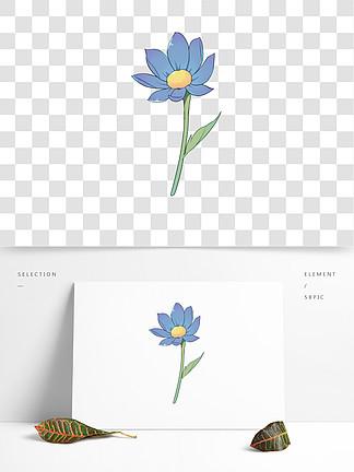 手绘卡通小清新可爱蓝色花朵素材免扣
