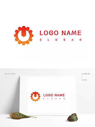 紅色齒輪企業logo
