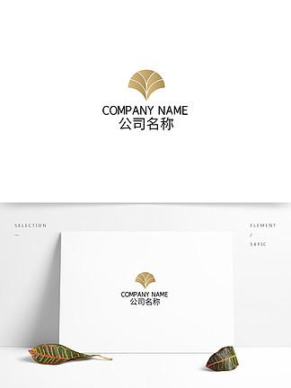 金属渐变叶子高级商业地产logo