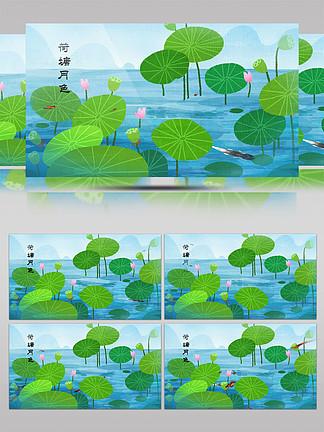 中国风荷塘月色动态背景视频