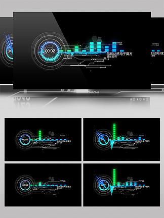 HUD高科技音頻可視化頻譜AE模板4