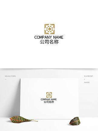 中式花紋民宿設計logo