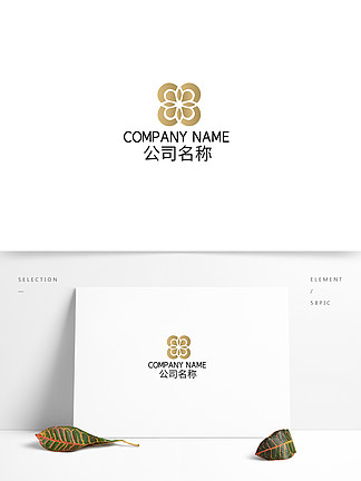 中式花紋地產民宿住宅logo