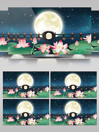 荷塘月色LED华丽浪漫圆月背景AE视频