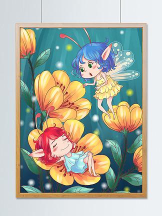 花丛中的小精灵手绘海报