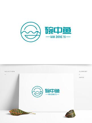 卡通抽象美食鱼类logo设计