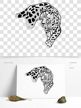 猎豹黑白点线简约手绘设计绿眼睛猛兽动物
