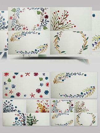 10组横版水彩花卉植物卡片背景