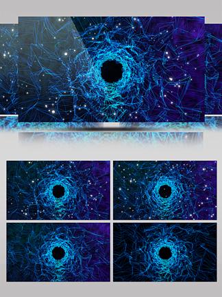 藍色高科技星空隧道穿梭背景