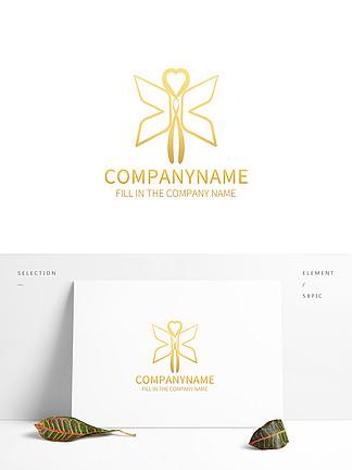 原创抽象简约蝴蝶形美容美发logo设计