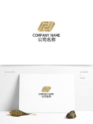 時尚矩形幾何金屬漸變科技商務logo