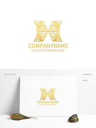 抽象几何X字母logo图案