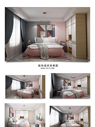 现代简约清新卧室效果图
