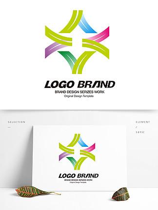 简约抽象花形V字母公司LOGO标志设计