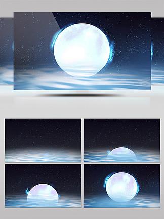 原创粒子梦幻水中月背景大屏