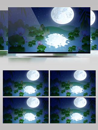 LED高清唯美荷花浪漫的荷塘月亮背景视频