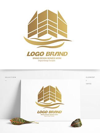 金色矢量建筑地产房产logo标志设计