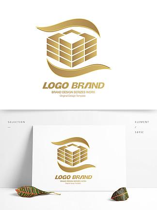 简约金色建筑地产房产logo标志设计