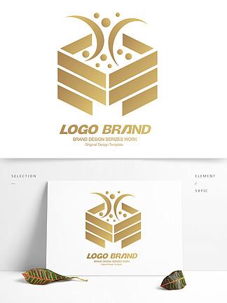 金色简约建筑地产房产logo标志设计