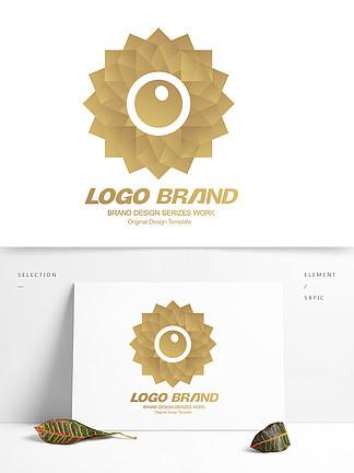 简约金色花朵地产房产logo标志设计