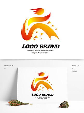 創意紅色飄帶運動會logo標志設計