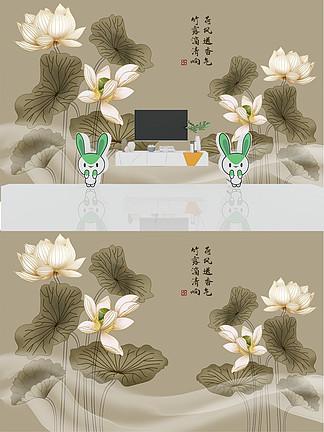 新中式線描水墨荷花抽象藝術輕奢<i>電</i><i>視</i><i>背</i><i>景</i><i>墻</i>