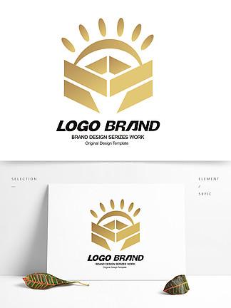 矢量简约金色建筑房产logo标志设计