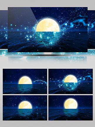 中秋节背景月亮海面升起